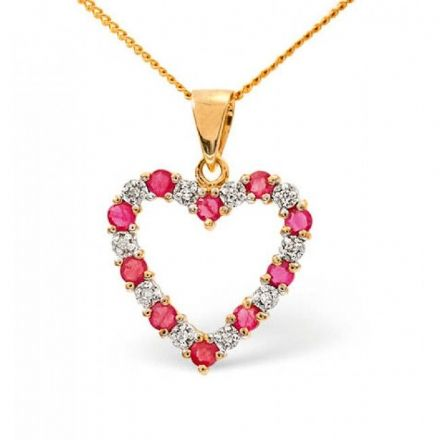 18K Gold 0.03ct Diamond & 0.68ct Ruby Pendant, P2403